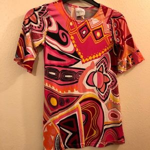 Bright abstract psychedelic girls dress